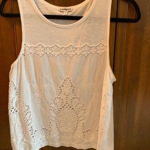Express white tank top (Crochet)